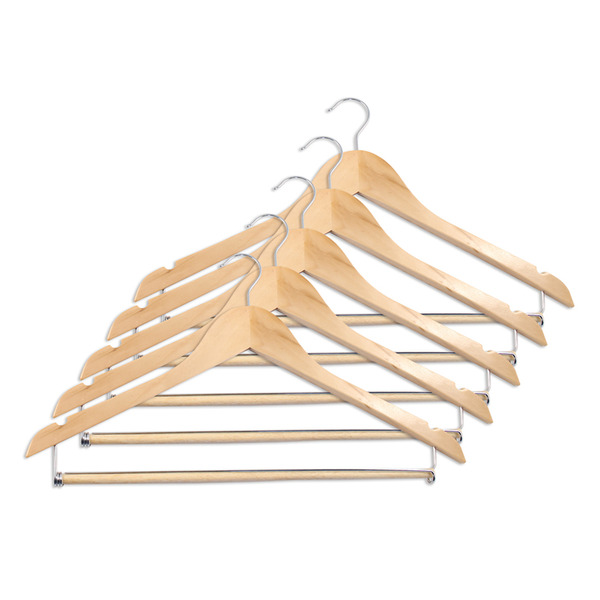Wood Suit Hanger with locking bar, Natural, Set of 5