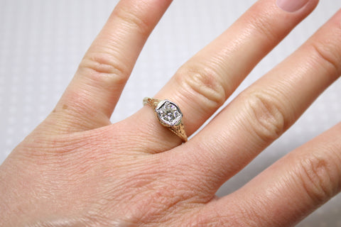 Art Deco Diamond Engagement Ring Top View