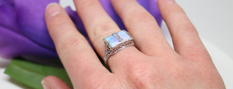 Vintage Two Stone Opal And White Gold Ring
