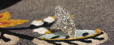 Long Vintage Engagement Ring