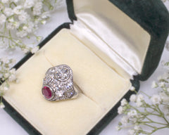 Ruby And Diamond Vintage Ring In Jewelry Box
