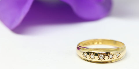 Antique Yellow Gold & Rose Cut Diamond Band
