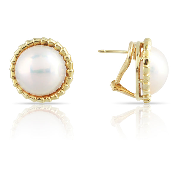 Vintage Mabe Pearls and Yellow Gold Earrings