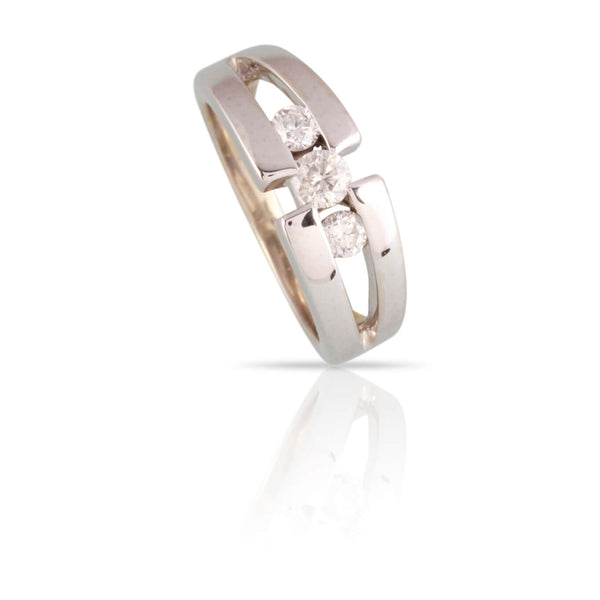 3 Stone Diamond Split Shank Ring | The Deb