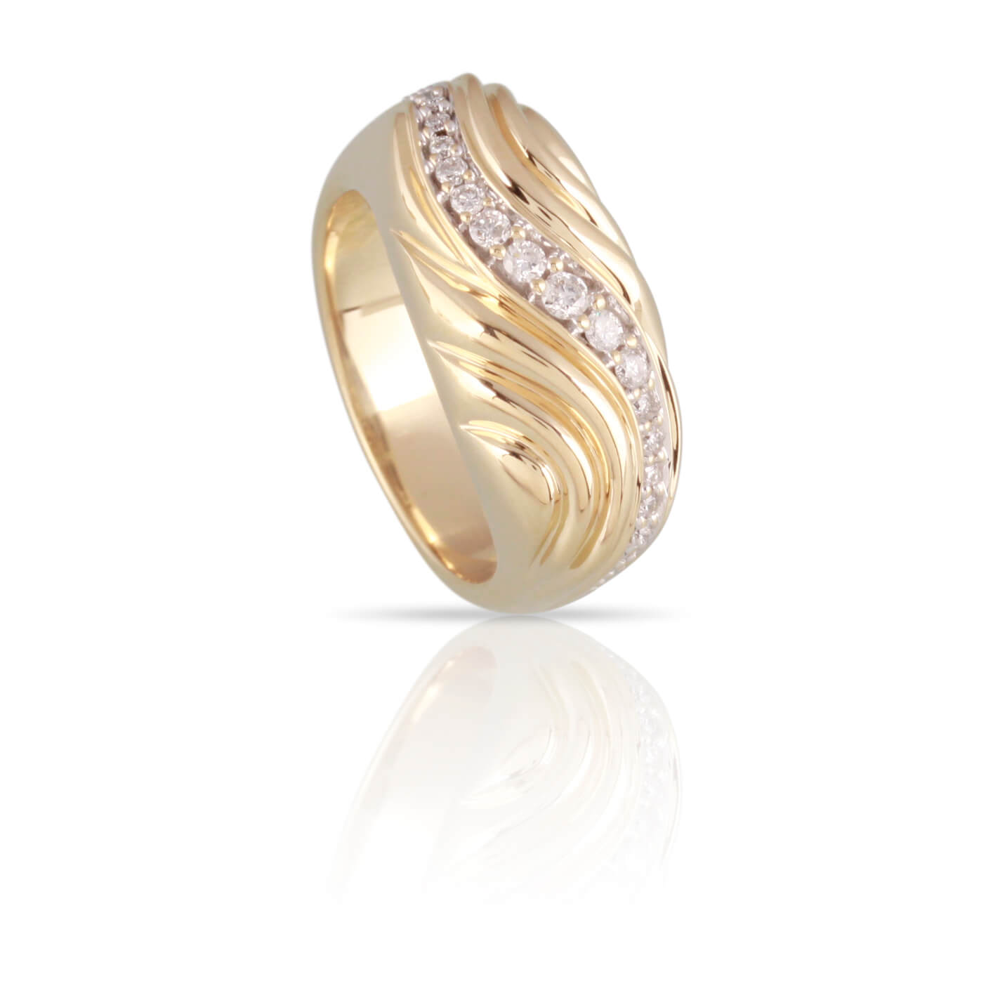 Diamond and Yellow Gold Wave Ring | The Willow