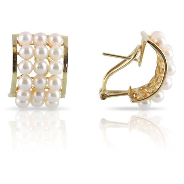 Curved Vintage Pearl Earrings