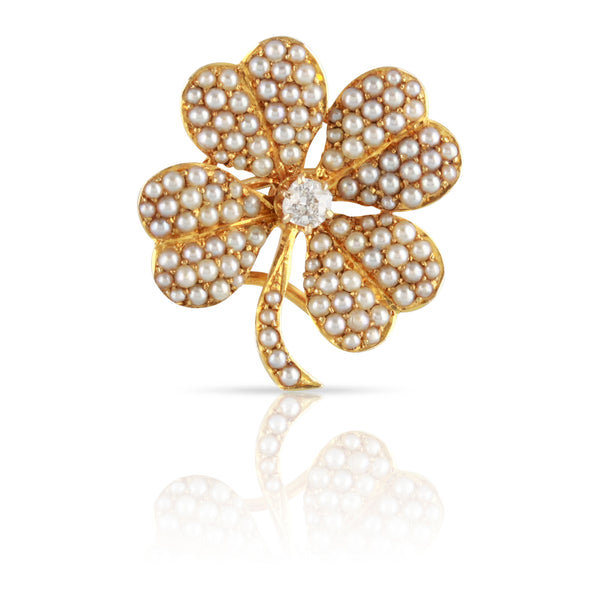 Victorian Era Four Leaf Clover Pin