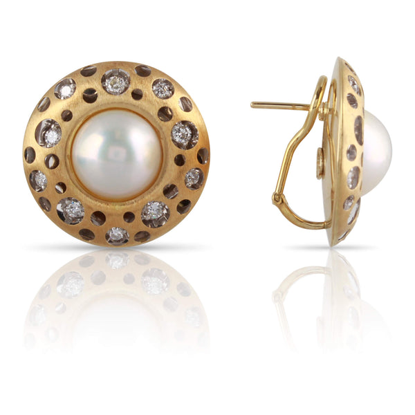 Cheetah Print Diamond & Mabe Pearl Earrings | The Mabel