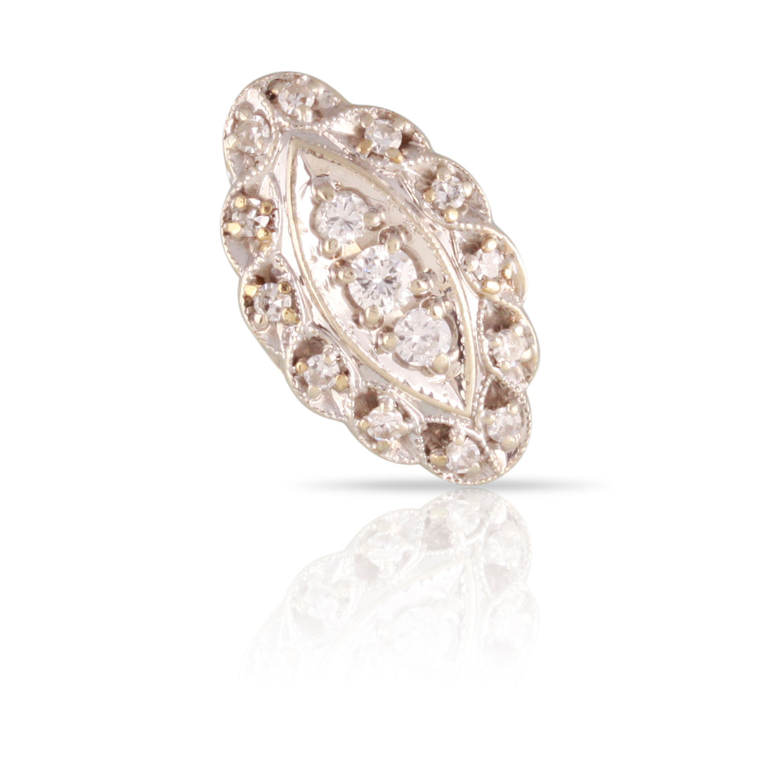 Retro Era Three Stone Diamond Halo Ring