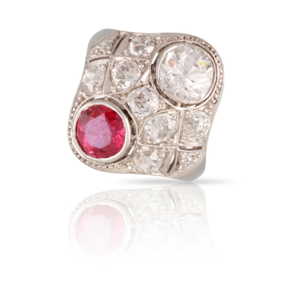 Art Deco Diamond and Ruby Ruby Ring