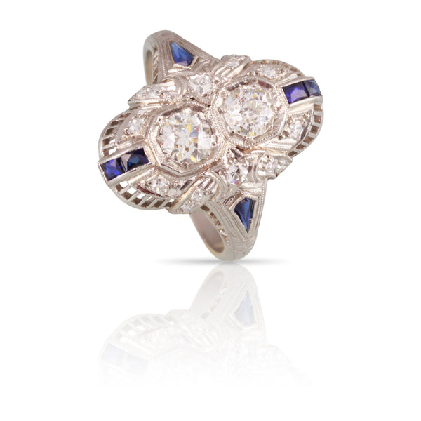 Art Deco Diamond and Sapphire Two Stone Ring | The Florence