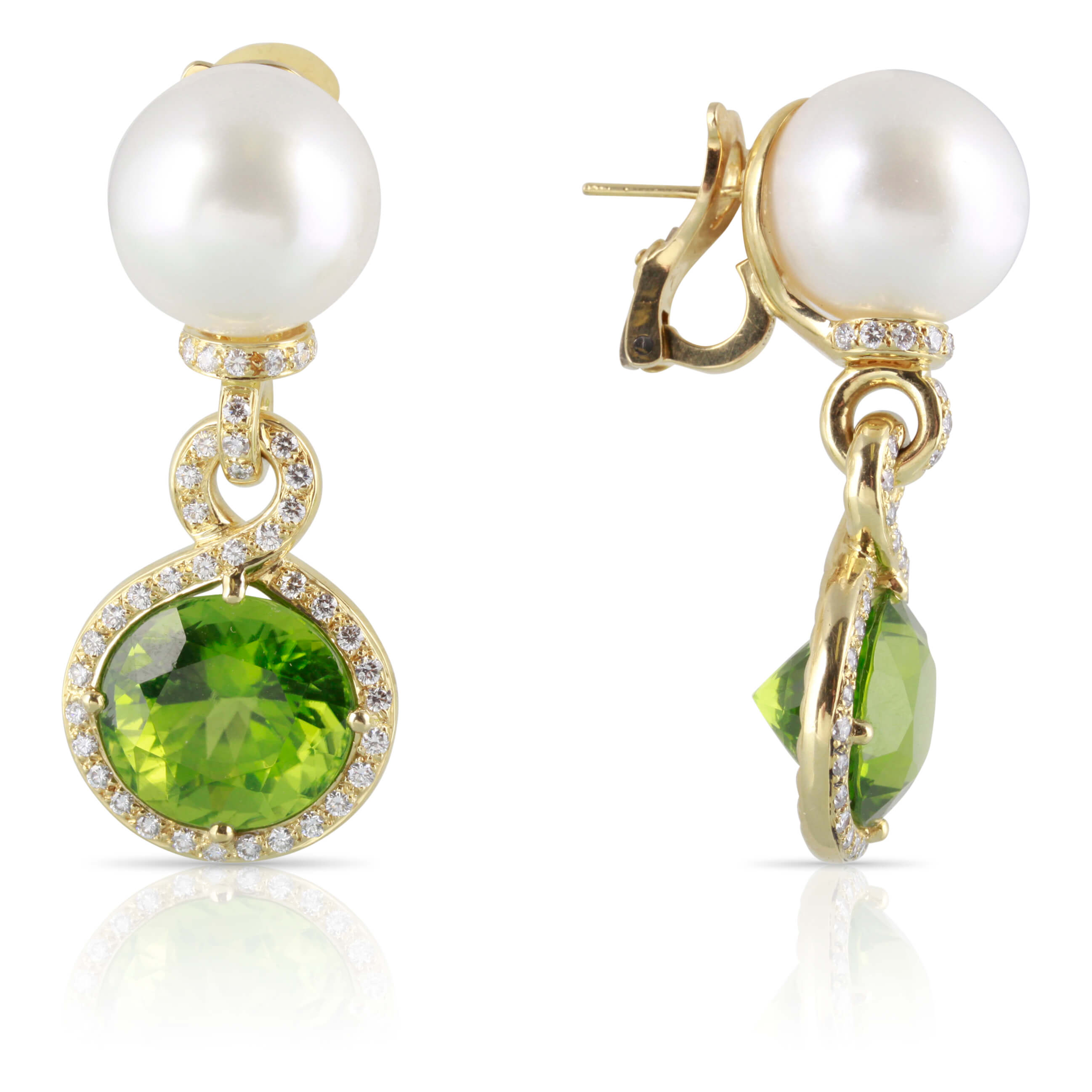 Peridot, Pearl, and Diamond Earrings | The Paislee