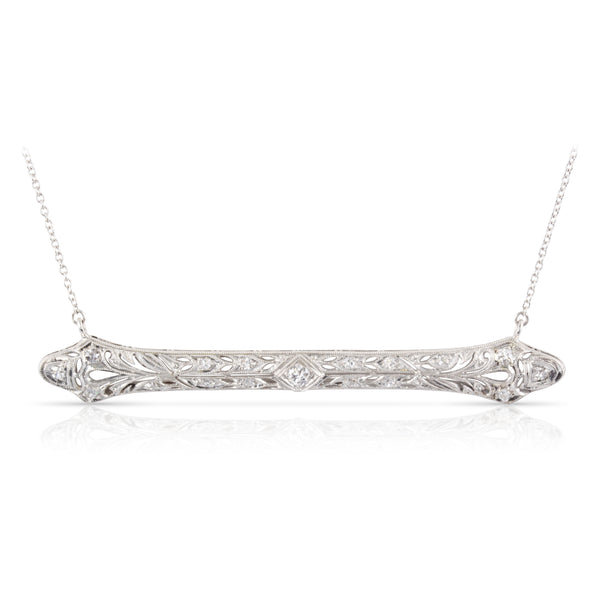 Edwardian Era Platinum and Diamond Bar Pendant | The Pauline