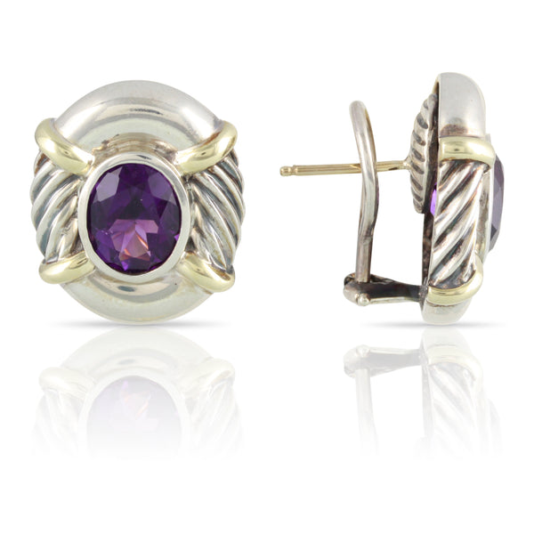Amethyst and Sterling Silver David Yurman Earrings | The Andrew