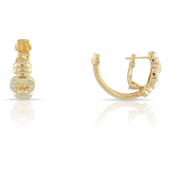 Charriol Diamond and Gold Hoop Earrings | The Phillippe