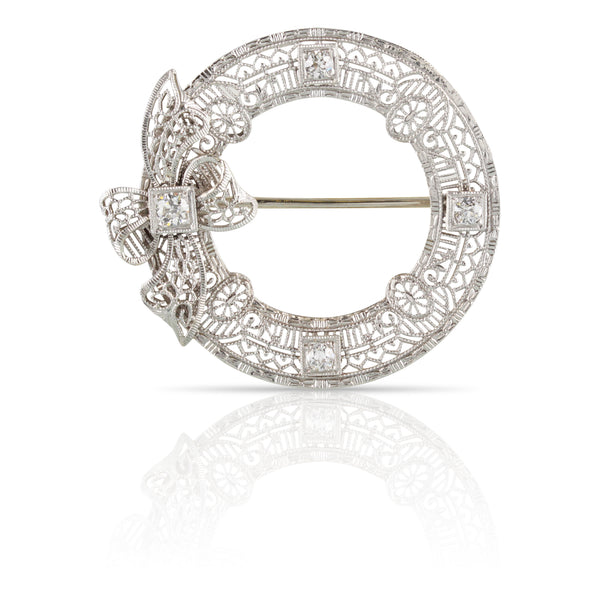 Edwardian Diamond Filigree Circle Pin | The Aurelia