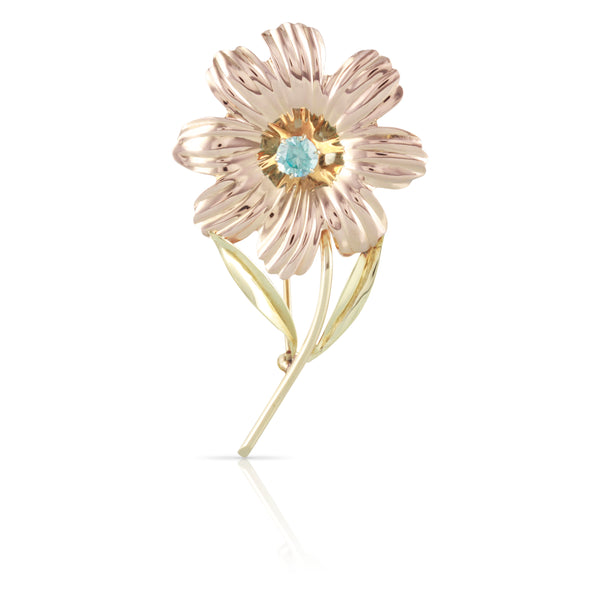 Two Tone Blue Zircon Flower Pin | The Bella
