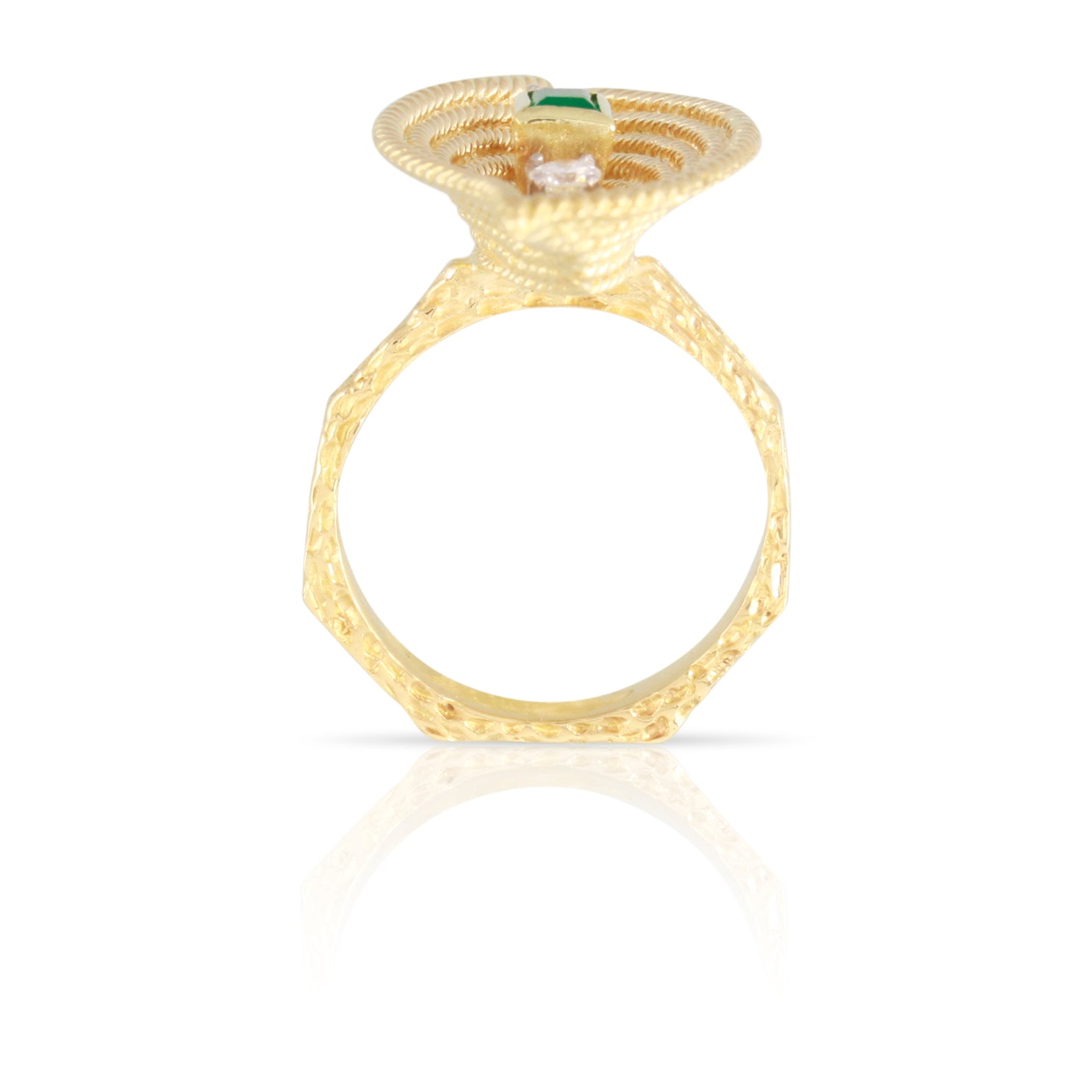 Mid-century Modern Diamond & Emerald Ring | The Georgia