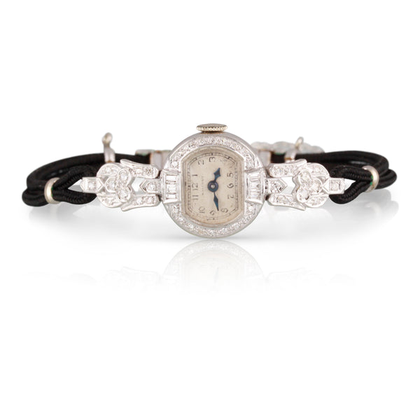 Art Deco Era Waltham Diamond and Platinum Watch | The Corrine