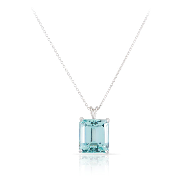 Aquamarine Solitaire Pendant | The Lawrence