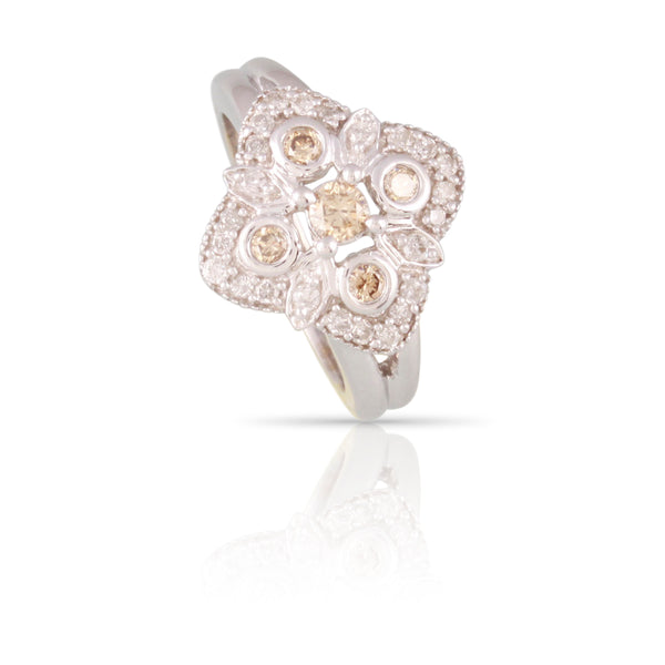 Champagne and White Diamond Ring | The Axel