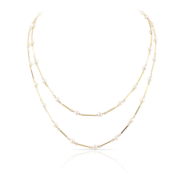 Pearl Bar Link Necklace | The Clara