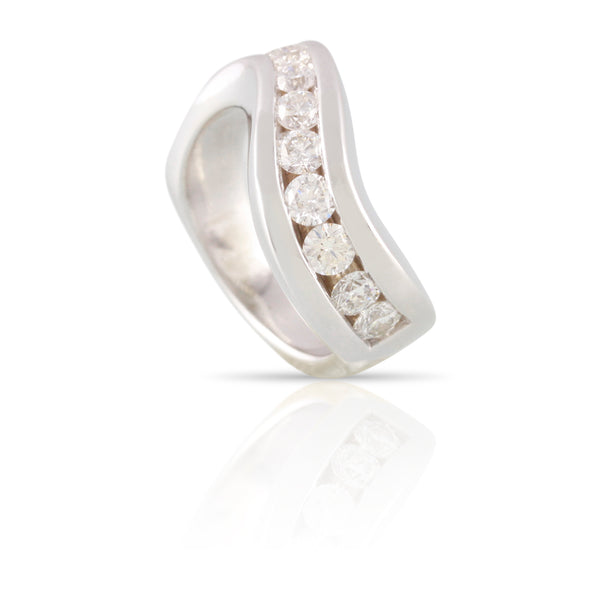 Channel Set Diamond Wave Ring | The Isaac