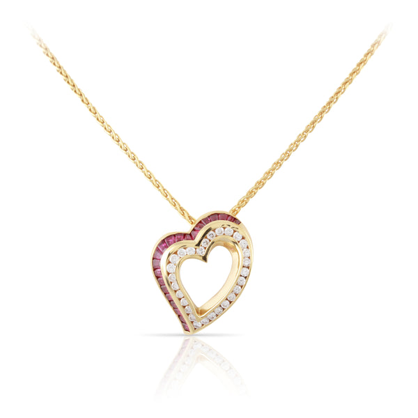 Charles Krypell Ruby and Diamond Heart Pendant | The Brielle
