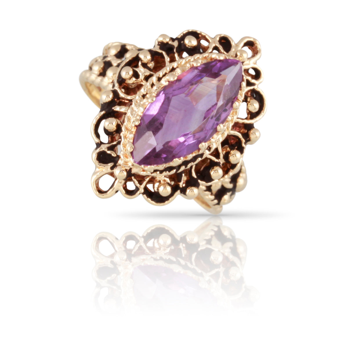 Marquise Amethyst Ring | The Lucia