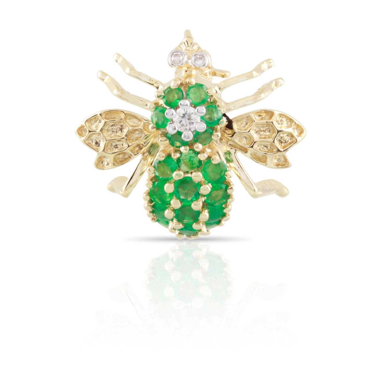 Emerald and Diamond Bee Pin | The Ezekiel
