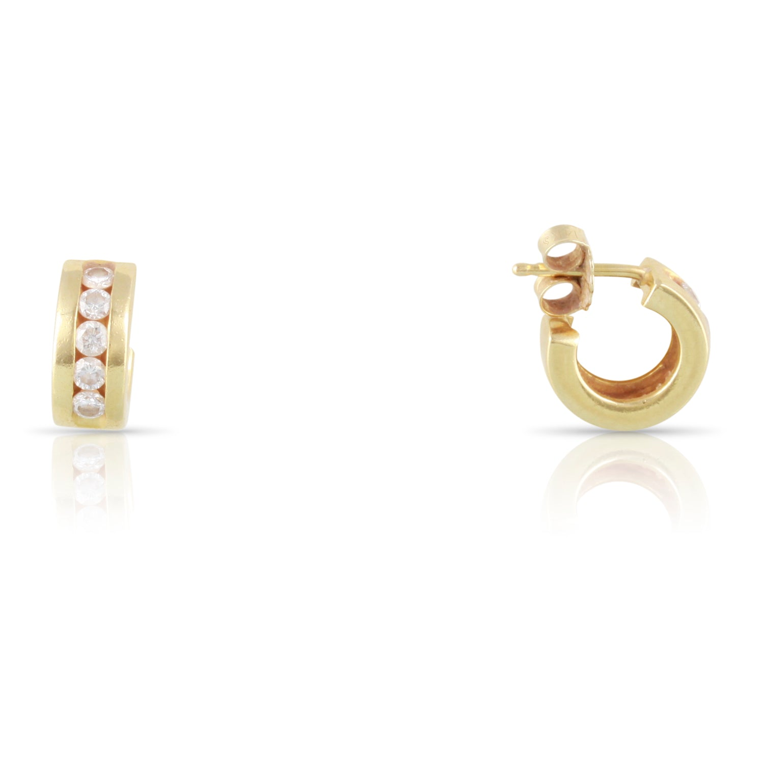Diamond and Yellow Gold Hoop Earrings | The Adam