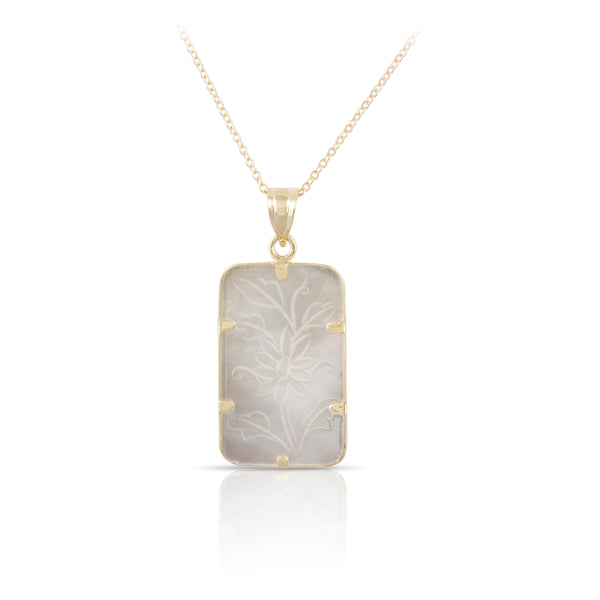 Floral Etched Mother of Pearl Pendant | The Landon