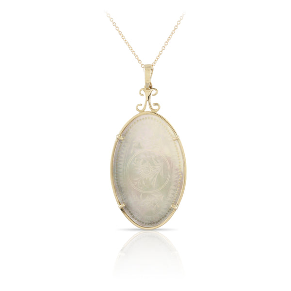 Floral Etched Mother of Pearl Pendant | The Jackson