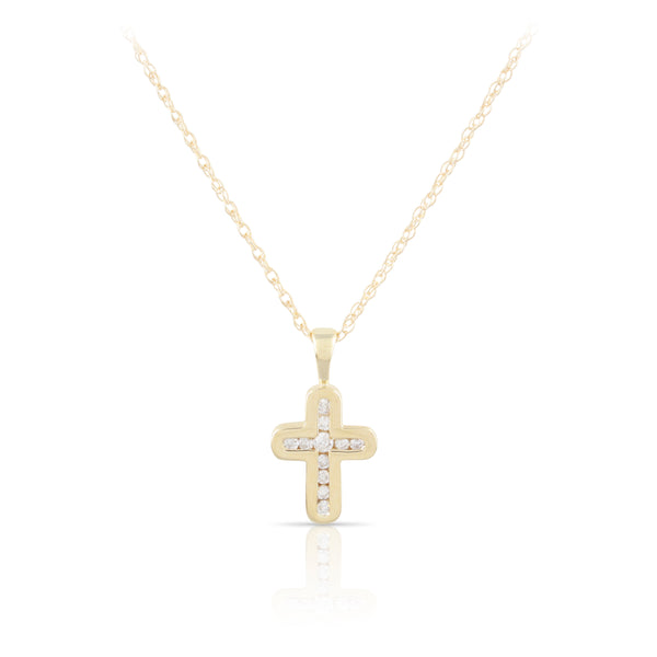 Diamond and Yellow Gold Cross Pendant | The Colton