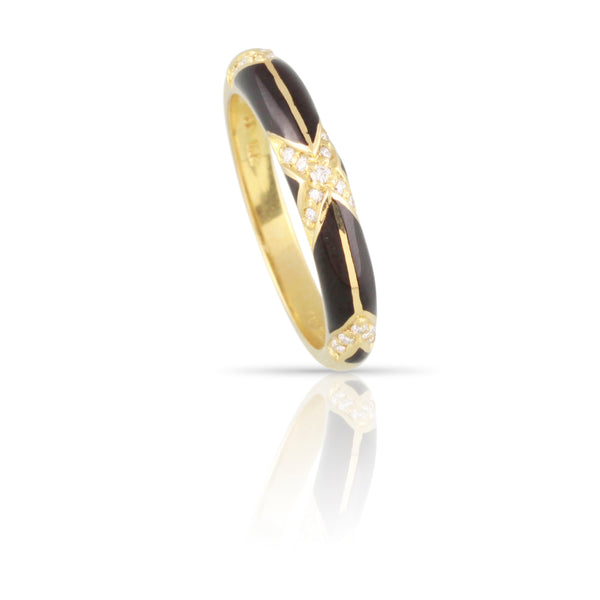Black Enamel and Diamond Ring | The Zane