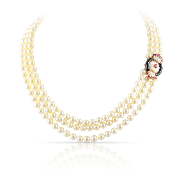 Art Deco Era Triple Pearl Strand | The Cassian
