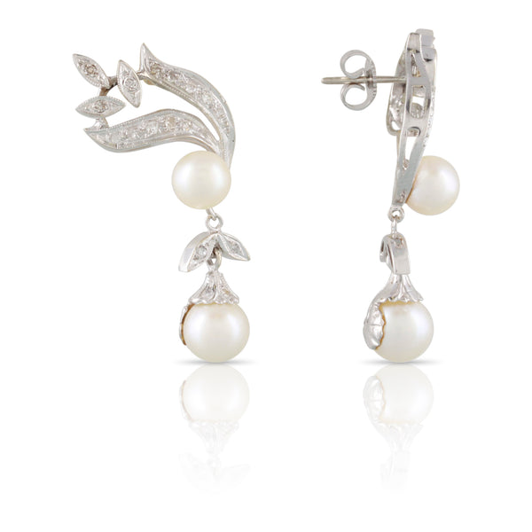 Vintage Pearl and Diamond Earrings | The Millie