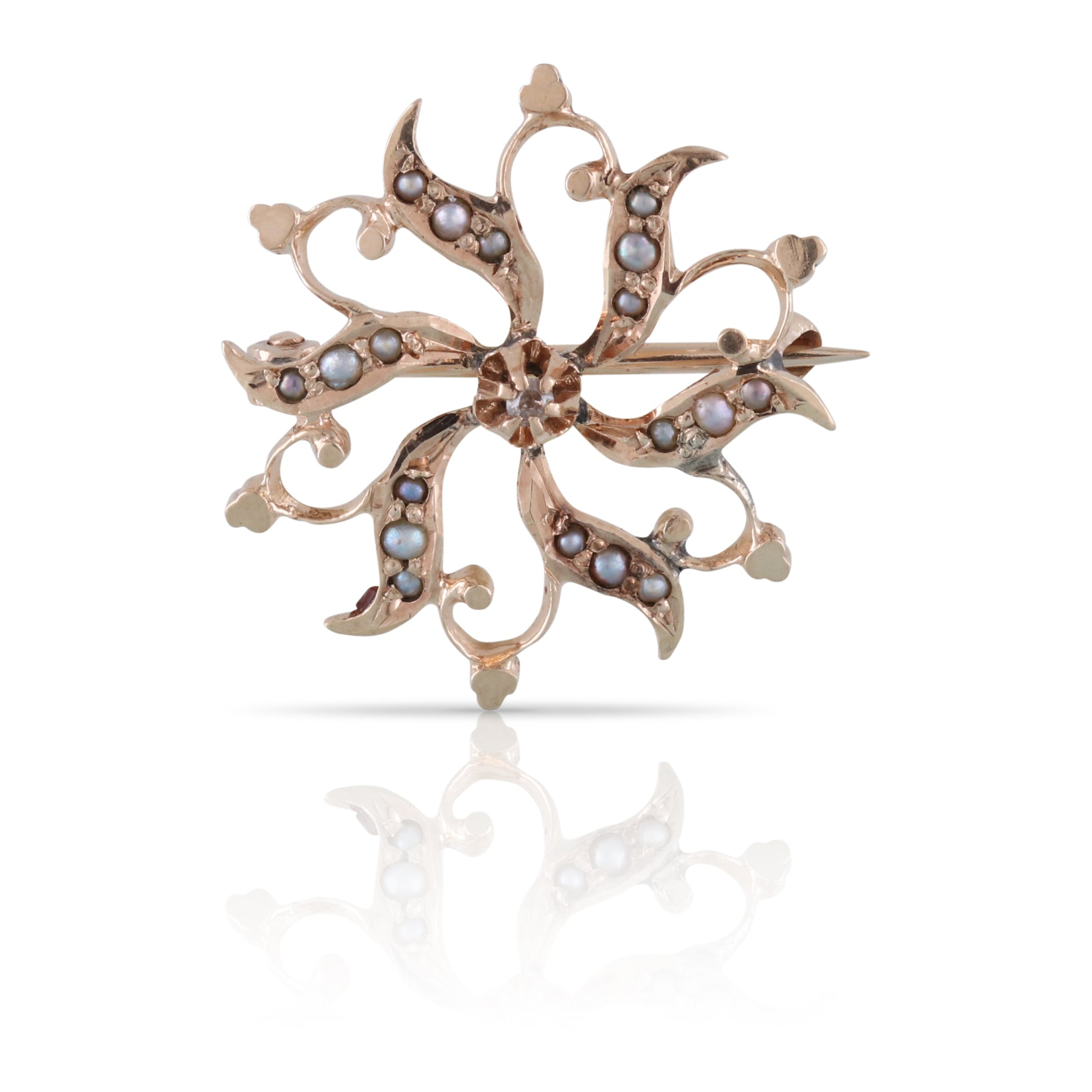 Victorian Era Diamond and Seed Pearl Brooch | The Valentina