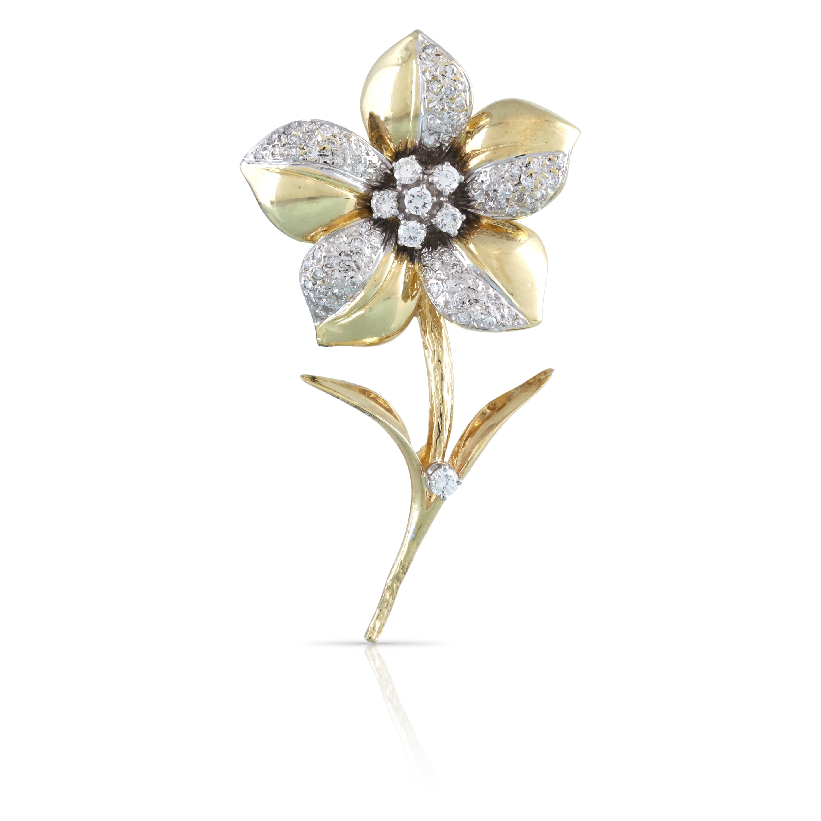 Pave Diamond Flower Pin | The Lorelei