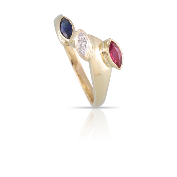 Ruby, Diamond, and Sapphire Ring | The Harper