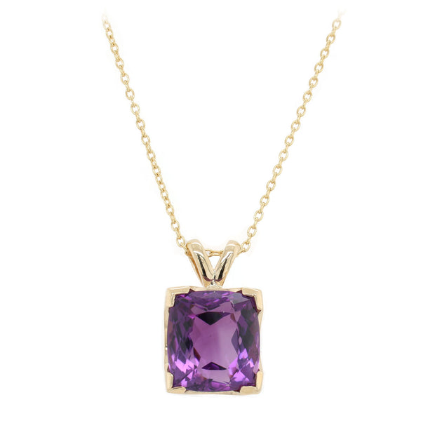 Cushion Shaped Amethyst Pendant Necklace