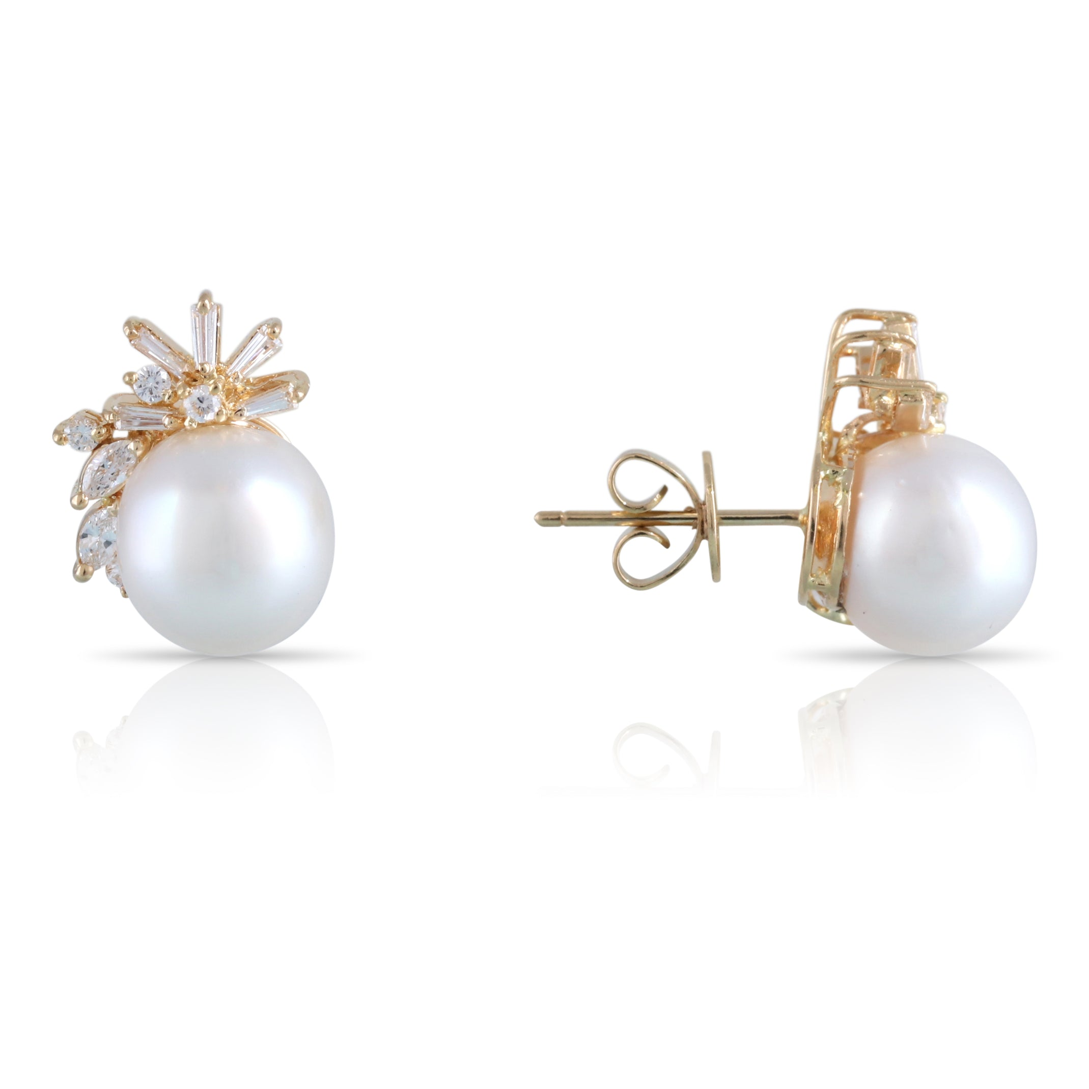 Diamond and Pearl Stud Earrings | The Kinsley