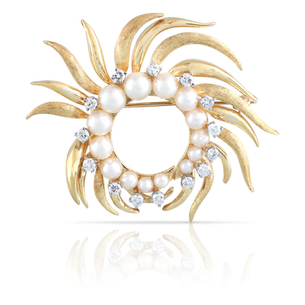 Pearl and Diamond Sunburst Brooch | The Annie