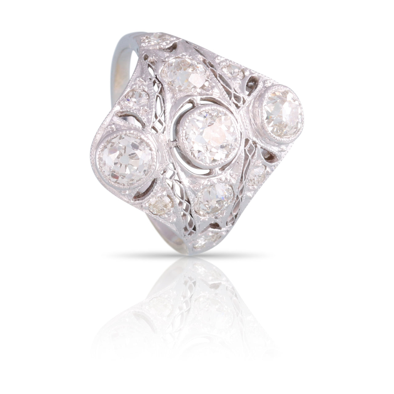 Art Deco Three Stone Diamond Filigree Ring | The Bridget