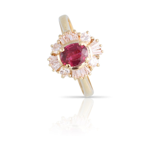 Ruby and Diamond Halo Ring | The Samantha