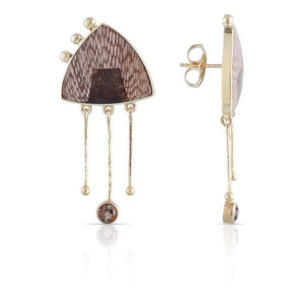 Brown Enamel and Gold Earrings | The Philip