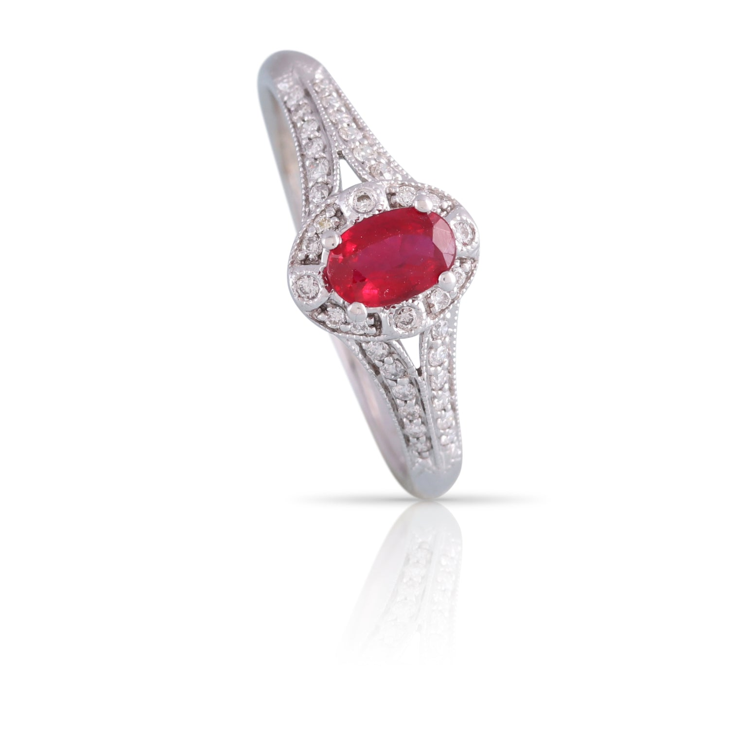 Ruby and Diamond Halo Ring | The Evan
