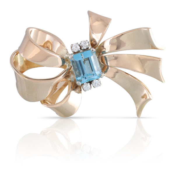 Aquamarine and Diamond Bow Pin | The Laurel