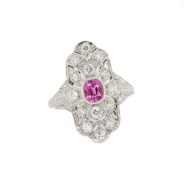 Art Deco Pink Sapphire and Diamond Ring