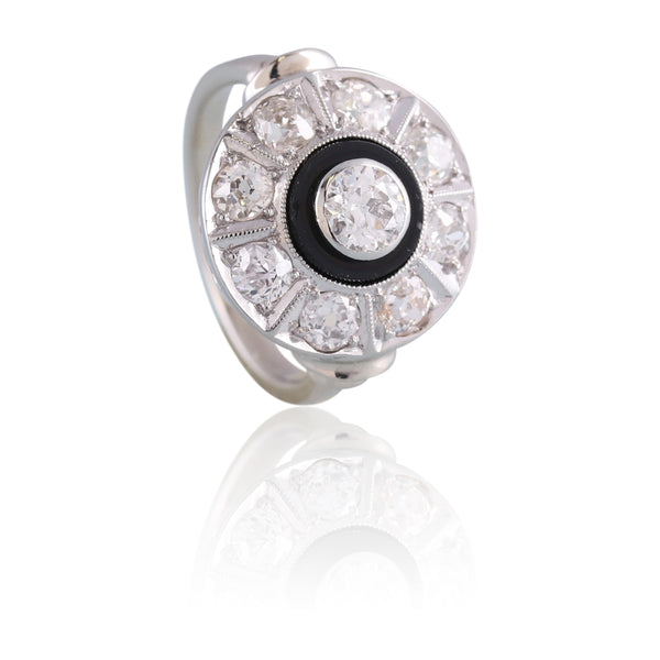 Old European Cut Diamond and Onyx Ring | The Clark
